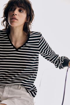 Pedro del Hierro Camiseta de rayas cuello pico manga larga logo Black