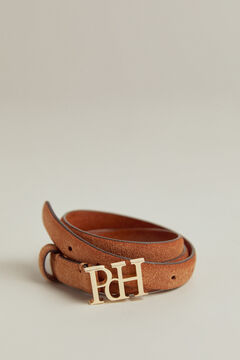 Pedro del Hierro Leather belt with PdH logo Beige