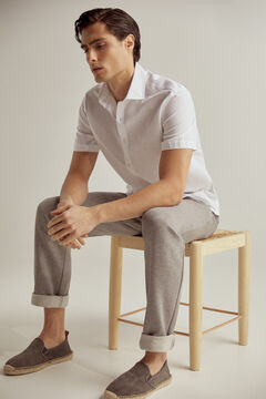 Pedro del Hierro At Home collection plain short-sleeved linen/cotton shirt  White
