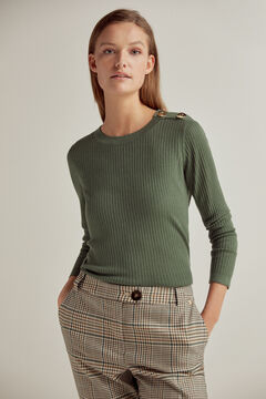 Pedro del Hierro Ribbed crew neck jumper with shoulder buttons Green