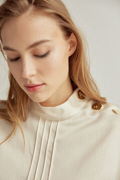Pedro del Hierro High neck top with buttons Beige