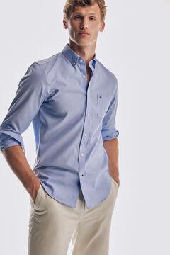 Pedro del Hierro Tech non-iron cotton Oxford shirt Blue