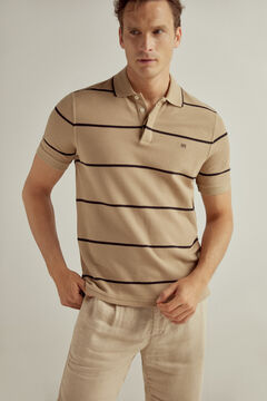 Pedro del Hierro Short-sleeved polo shirt with PdH logo Beige