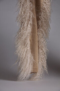 Pedro del Hierro Natural curly fur scarf Ecru