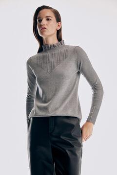 Pedro del Hierro Romantic patterned yoke jumper Grey