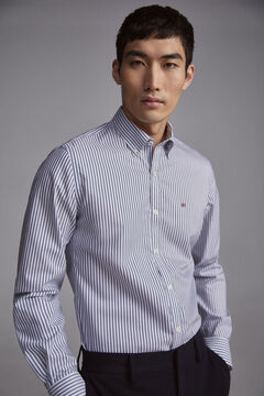Pedro del Hierro Striped slim fit TX Protect shirt Blue
