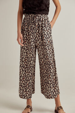 Pedro del Hierro Printed paperbag trousers Grey