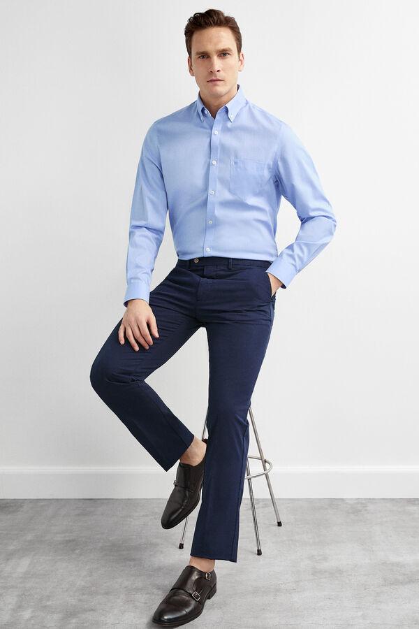 9e8546643 Pedro del Hierro Pantalón chino algodón pima regular fit Azul
