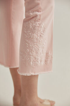 Pedro del Hierro Coloured embroidered flare fit trousers Pink