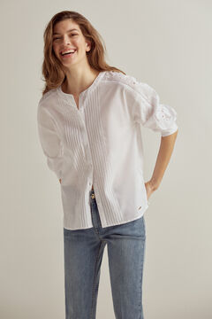Pedro del Hierro Romantic pintuck blouse White