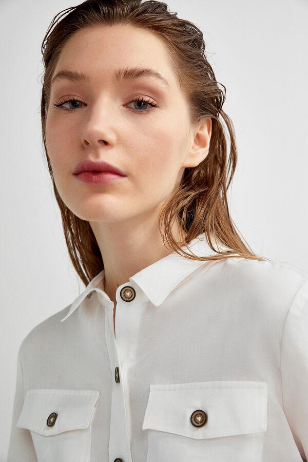 befc16ba1f Pedro del Hierro Camisa lino botones contraste Crudo