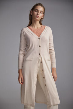 Pedro del Hierro Long V-neck cardigan with openwork details at the sides and back Ecru