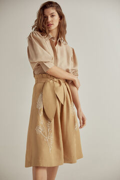Pedro del Hierro Embroidered midi skirt Brown