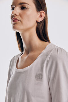 Pedro del Hierro Long-sleeved wide neck gathered T-shirt Beige