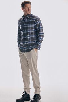 Pedro del Hierro Camisa cuadros melange twill algodón Blue
