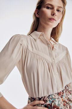 Pedro del Hierro V-neck EcoVero yoke blouse Ecru