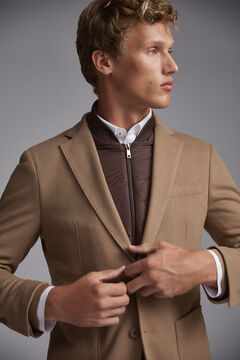 Pedro del Hierro Jersey-knit travel blazer with removable lining Brown