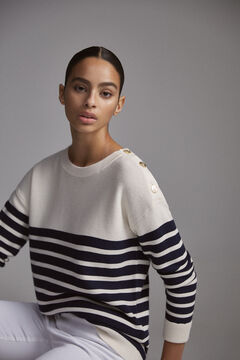 Pedro del Hierro Striped jumper with buttons Beige