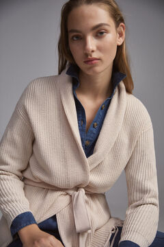 Pedro del Hierro Pearlescent knit cardigan with belt and fringed hem Ecru