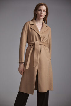 Pedro del Hierro Double-faced coat with belt Beige