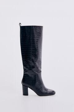 Pedro del Hierro Dark brown crocodile embossed leather heeled boot Brown