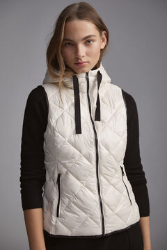 Pedro del Hierro Quilted hooded gilet Ecru