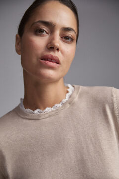 Pedro del Hierro Combined pointelle-detail jumper Brown