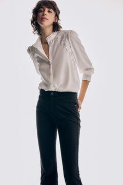 Pedro del Hierro Eco Vero blouse with lace yoke Beige