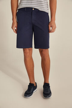 Pedro del Hierro Essential plain pima cotton Bermuda shorts Blue