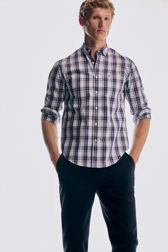 Pedro del Hierro Camisa xadrez tech non iron algodão Azul