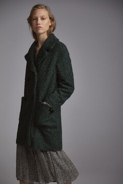Pedro del Hierro Double-breasted sheepskin coat Green