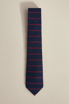 Pedro del Hierro Horizontal striped double blade tie Blue