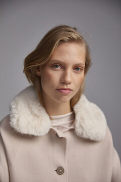 Pedro del Hierro Knit coat with fur Ecru