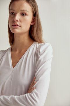 Pedro del Hierro Essential V-neck long-sleeved organic cotton t-shirt White