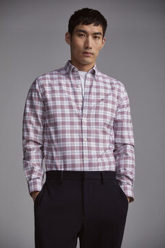 Pedro del Hierro Prince of Wales check slim fit TX Protect shirt Red