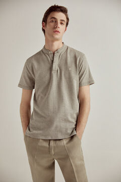 Pedro del Hierro Short-sleeved mandarin collar polo shirt with PdH logo Grey