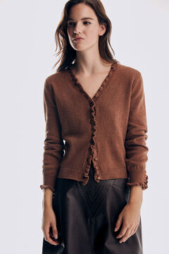 Pedro del Hierro Flounced placket and cuffs jacket Brown