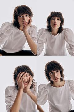 Pedro del Hierro Poplin V-neck T-shirt White