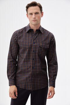 Pedro del Hierro Melange checked shirt Blue