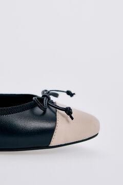 Pedro del Hierro Leather ballerina style shoe Black