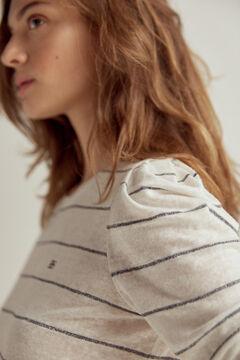 Pedro del Hierro Camiseta lino rayas lurex Blue
