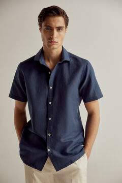 Pedro del Hierro At Home collection plain short-sleeved linen/cotton shirt  Blue