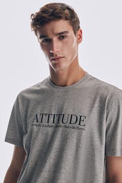 Pedro del Hierro Short-sleeved slogan t-shirt Grey