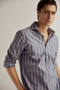 Pedro del Hierro Striped stretch cotton and linen polo shirt Blue