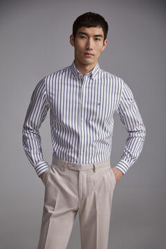 Pedro del Hierro Striped tech-non iron stain resistant shirt Blue