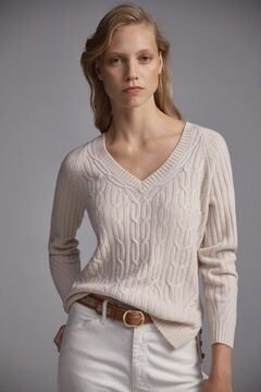 Pedro del Hierro V-neck cable knit jumper Beige