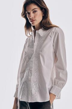 Pedro del Hierro Embroidered poplin blouse White