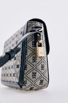 Pedro del Hierro Logo jacquard and leather crossbody bag Black