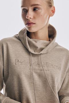 Pedro del Hierro Embroidered logo cut jersey-knit sweatshirt Grey