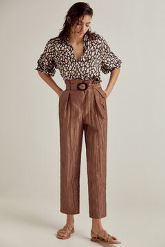 Pedro del Hierro Paperbag trousers Brown